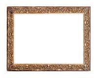 Goldener alter Rahmen, lokalisiert auf Weiß lizenzfreie stockbilder