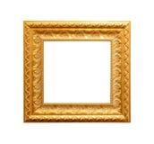 Goldener antiker Rahmen lokalisiert auf Weiß Lizenzfreies Stockfoto