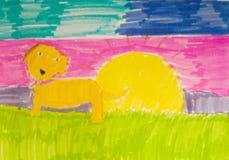Goldener Apportierhund und Sun Stockfotos