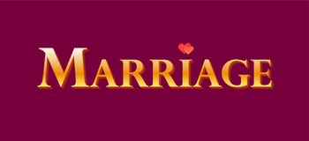 Goldener Aufkleber für Dekoration für die Heirat, Heirat - Vektorgestaltungselement für das Feiern des Jahrestages stock abbildung