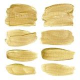 Goldener Bürstenanschlagrahmen, Goldbeschaffenheits-Farbenfleck vektor abbildung