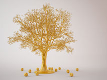 Goldener Baum mit goldenen Äpfeln Stockfotos