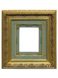Goldener Bilderrahmen der alten Weinlese lokalisiert auf Weiß Stockbild