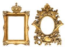 Goldener Bilderrahmen der barocken Art lokalisiert auf weißem Hintergrund Stockfotografie