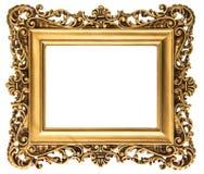 Goldener Bilderrahmen der Weinlese lokalisiert auf Weiß Lizenzfreie Stockfotografie