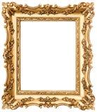 Goldener Bilderrahmen der Weinlese lokalisiert auf Weiß Lizenzfreies Stockfoto