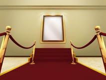 Goldener Bilderrahmen in einer großartigen Galerie Lizenzfreies Stockbild