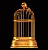 Goldener Birdcage getrennt auf Schwarzem Stockfoto