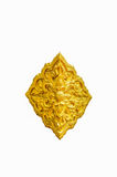 Goldener Blumenstuck in der traditionellen thailändischen Art Goldene Blume Stockfotografie
