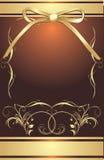 Goldener Bogen mit dekorativem Feld. Verpackung Stockfotos