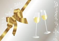 Goldener Bogen und Gläser mit Sekt lizenzfreie abbildung