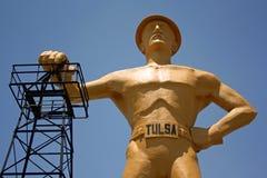 Goldener Bohrer in Tulsa, Oklahoma Lizenzfreie Stockfotos
