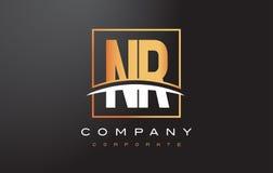 Goldener Buchstabe Logo Design NR N R mit Goldquadrat und Swoosh Stockfotografie