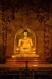 Goldener Buddha mit schöner thailändischer Wandmalerei Stockbild