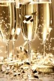 Goldener Champagnerschein stockbilder