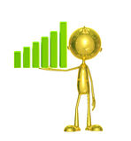 Goldener Charakter mit Diagramm Stockfoto