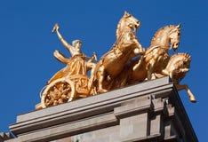 Goldener Charriot Parc de La Ciutadella Barcelona Lizenzfreies Stockfoto
