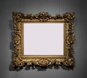 Goldener dekorativer Rahmen für das Malen auf Wand Stockfotografie