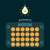 Goldener Dollar prägt in einem Koffer in einer Dunkelkammer vektor abbildung