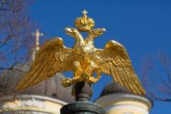 Goldener doppelköpfiger Adler auf einem Hintergrund des blauen Himmels Stockfoto