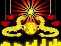 Goldener Drache. Stockbilder