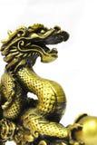 Goldener Drache auf Weiß Stockfotos