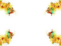 Goldener Drache vier auf weißem Hintergrund. Stockbild