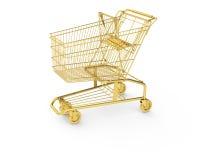 Goldener Einkaufswagen Stockfotografie