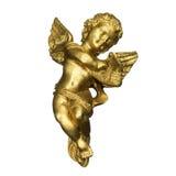 Goldener Engel, der die Harfe spielt stockbild