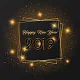 Goldener Entwurf der Karte des guten Rutsch ins Neue Jahr 2019 stock abbildung