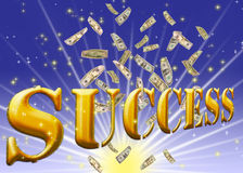 Goldener Erfolgstext. Stockfotos