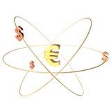 Goldener Eurosymbol-Dollar auf weißem Hintergrund Lizenzfreie Abbildung