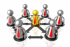 Goldener Führer und Geschäftsteam stock abbildung