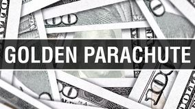 Goldener Fallschirm-Nahaufnahme-Konzept Amerikanische Dollar des Bargeld-, Wiedergabe 3D Goldener Fallschirm an der Dollar-Bankno lizenzfreie abbildung