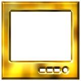 goldener Fernsehapparat 3D Stockfotografie