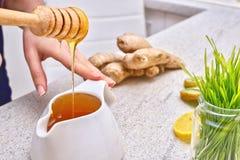 Goldener flüssiger organischer Honig auf einem Tropfenfänger, der grünen Weizen, Zitrone und Ingwer für einen Detox Smoothie gieß Stockfotografie