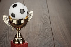 Goldener Fußballtrophäencup Stockbilder
