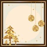 Goldener Funkeln Weihnachtskartenrahmen Lizenzfreie Stockbilder