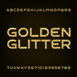 Goldener Funkelnalphabet-Vektorguß Buchstaben und Zahlen Lizenzfreie Stockfotografie