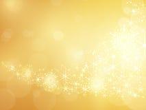 Goldener funkelnder Stern- und Schneeflockerand Lizenzfreie Stockfotografie