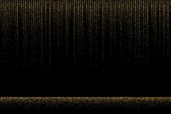 Goldener Funkelnregen auf schwarzem Hintergrund Vektordesignbeschaffenheit Stockbild