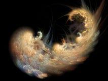 Goldener gewundener Nebelfleck Stockbild