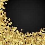 Goldener glänzender Herzkonfettis Valentinstag stock abbildung
