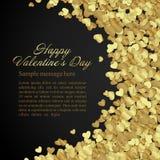 Goldener glänzender Herzkonfettis Valentinstag oder vektor abbildung