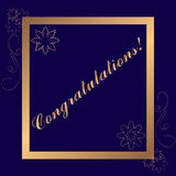 Goldener Glückwunschrahmen auf dunkelblauem Hintergrund Lizenzfreie Stockfotografie