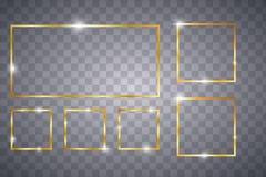 Goldener gl?hender Rahmen lizenzfreie abbildung