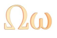 Goldener griechischer Buchstabe Omega, Wiedergabe 3D Stockfotos
