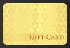 Goldener Gutschein mit Tulpenverzierung Lizenzfreies Stockbild