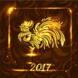 Goldener Hahn auf dunkelbraunem Hintergrund Gruß des neuen Jahres und des C Lizenzfreie Stockfotografie