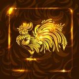 Goldener Hahn auf dunkelbraunem Hintergrund Stilisierte Zeichnung greet Lizenzfreies Stockfoto
